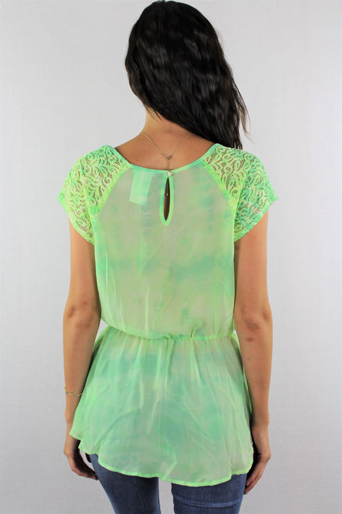Women's Cap Sleeve Neon Green Top with Lace Detail