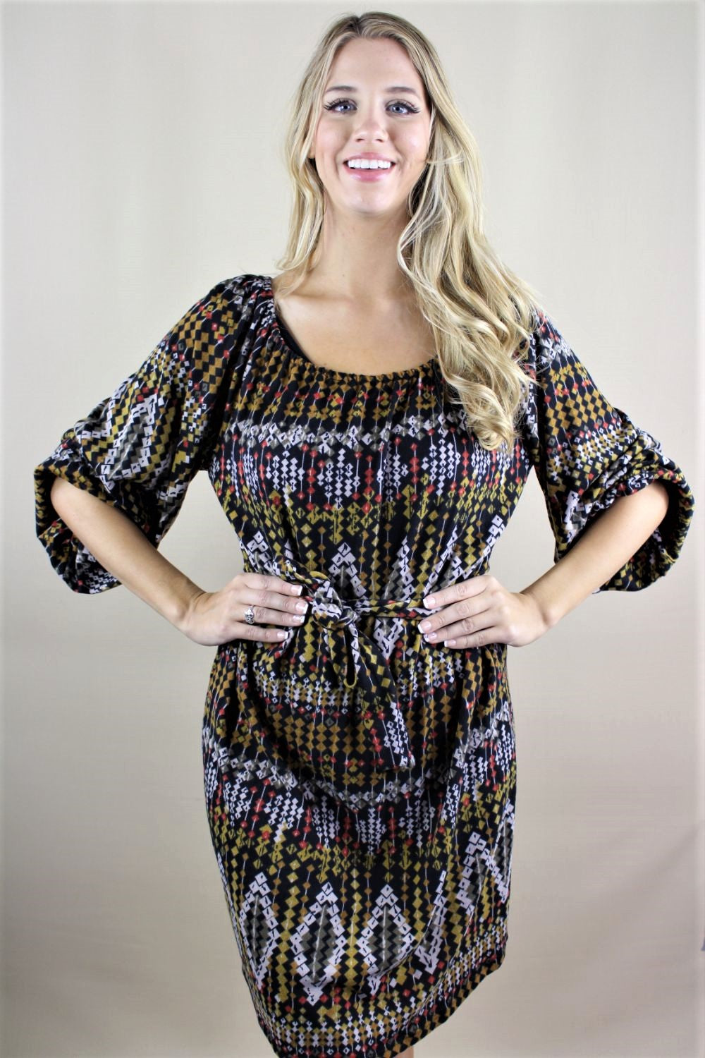 Women's Bishop Sleeve Printed Dress with Waist String