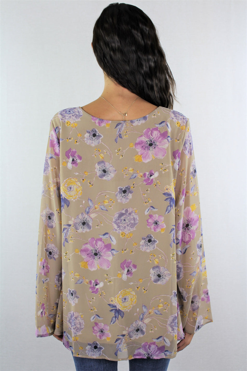 Women's Bell Sleeve V Neck Floral Top ***