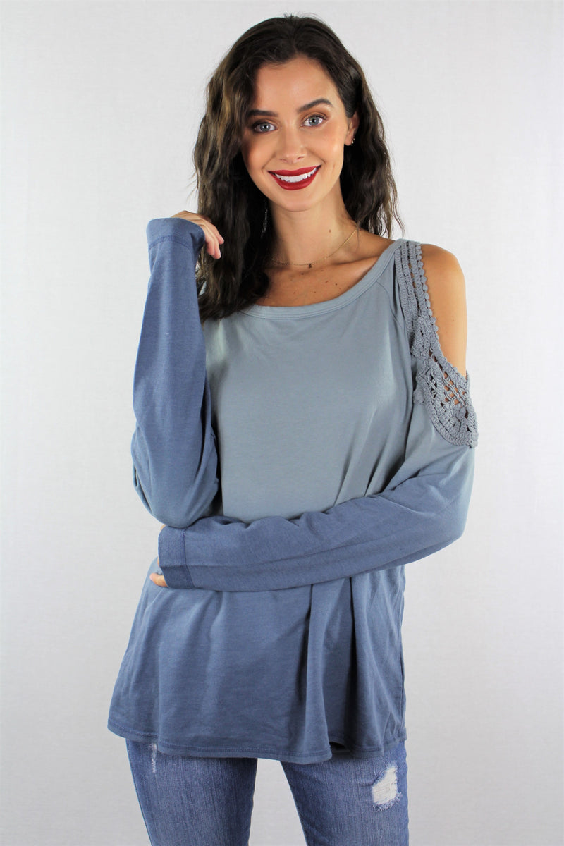 Dip Dye Crochet Shoulder Long Sleeve Top***