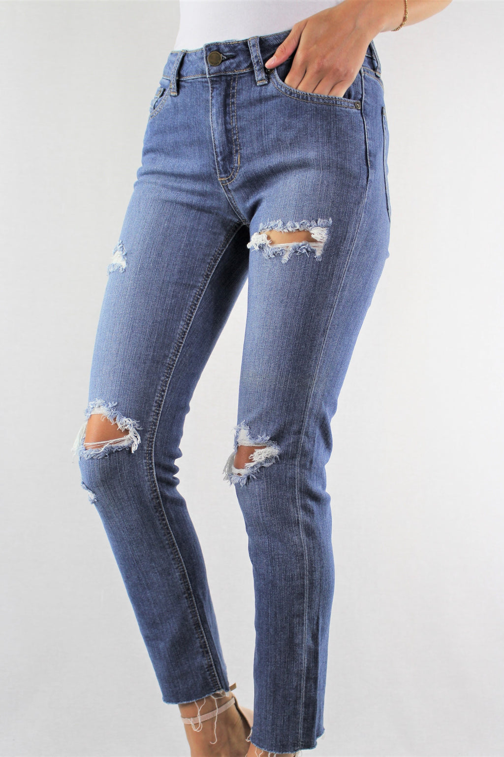 Straight Cut Ripped Jeans