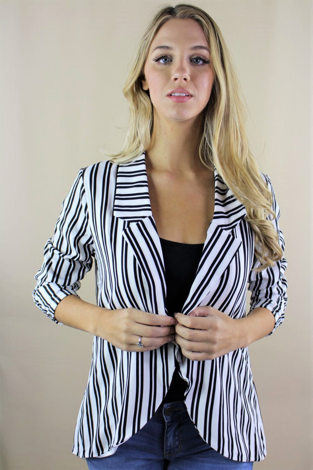 Women's 3/4th Sleeve Vertical Stripe Blazer with Back Slit