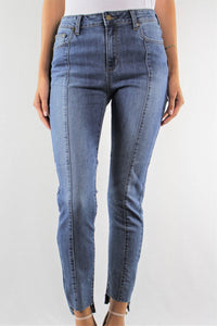 Step Hem Skinny Jeans with Front Seam Detail