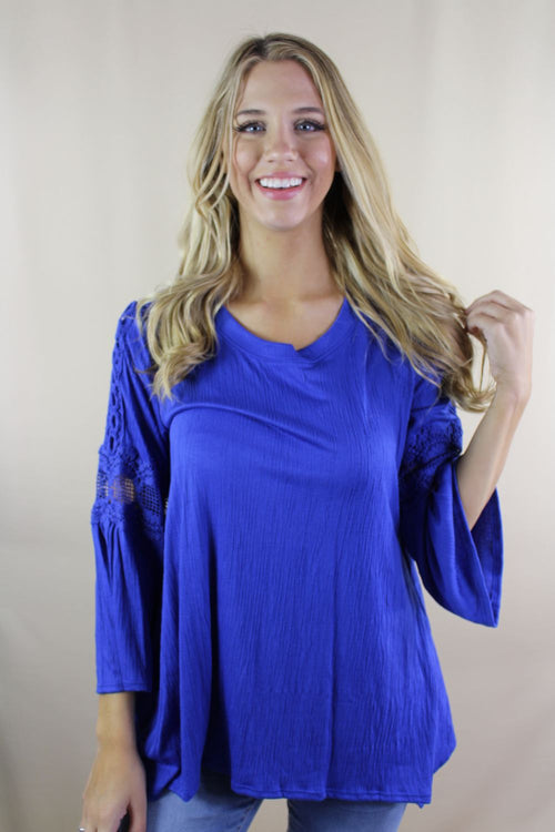 Women's 3/4th Bell Sleeve Top with Crochet Detail