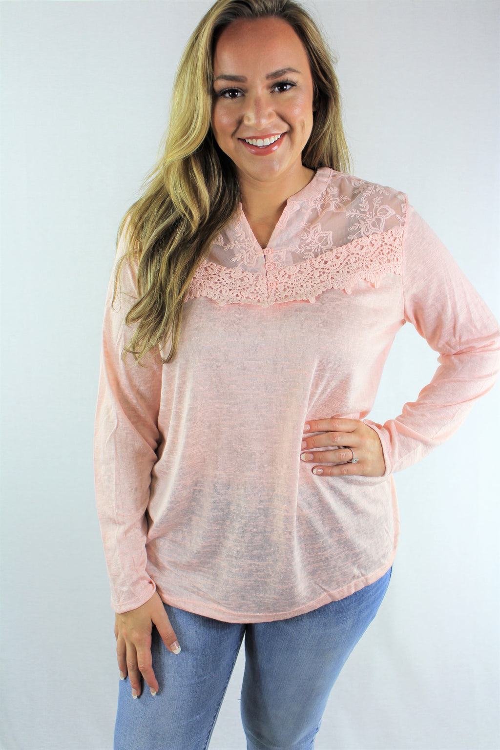 Plus Size Long Sleeve Top with Lace Detail ***