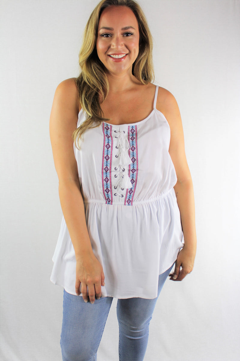 Women's Plus Size Lace Up Embroidered Tank Top