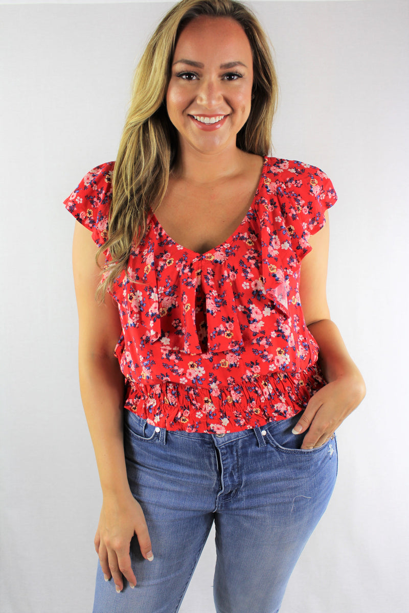Plus Size Ruffle Lining V Neck Top with Criss Cross Back