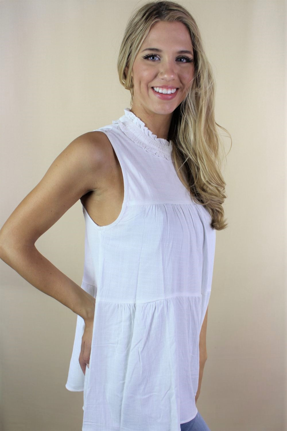 Women's Sleeveless Top with Neck Detail