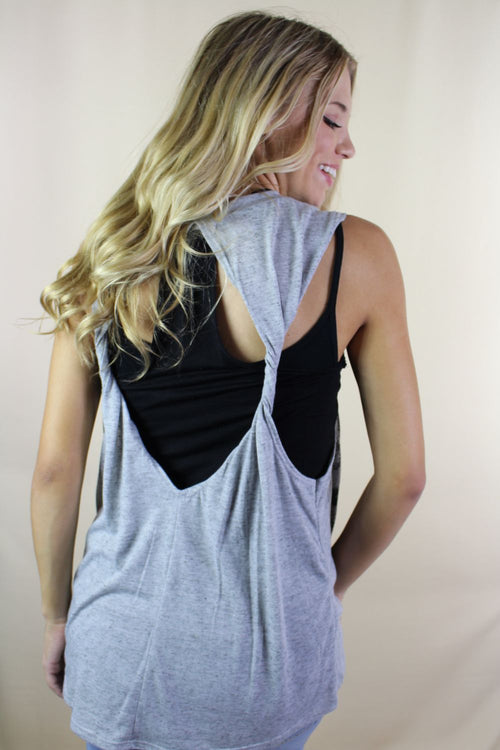 Women's Muscle Tank Open Back Top with Flag Print