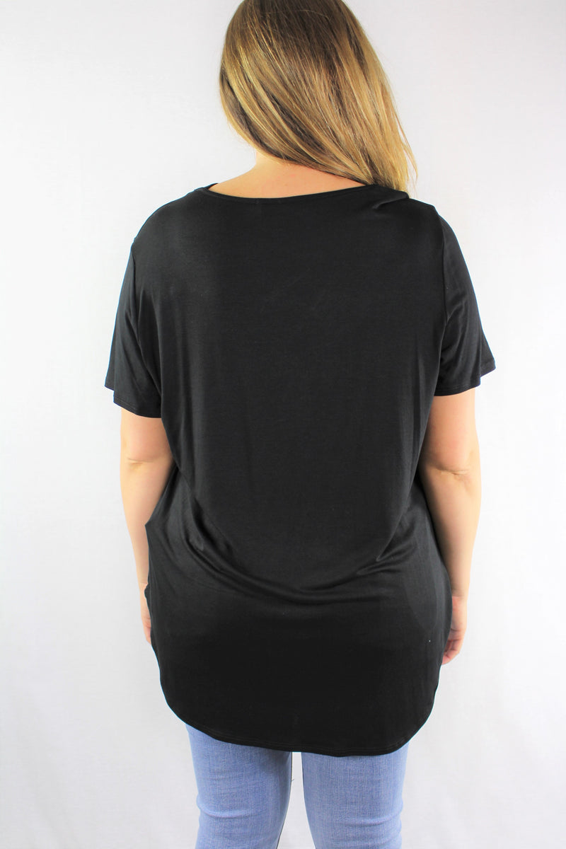 Plus Size Short Sleeve Top with Criss Cross Detail