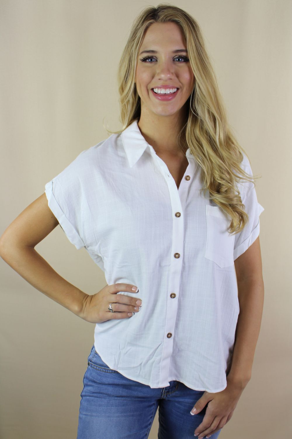 Women's Relaxed Fit Button Down Top
