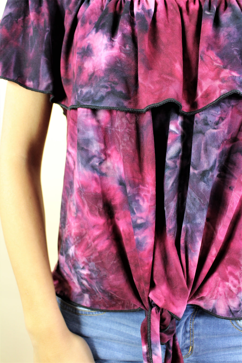 Women's Off Shoulder Tie Dye Top with Front Knot