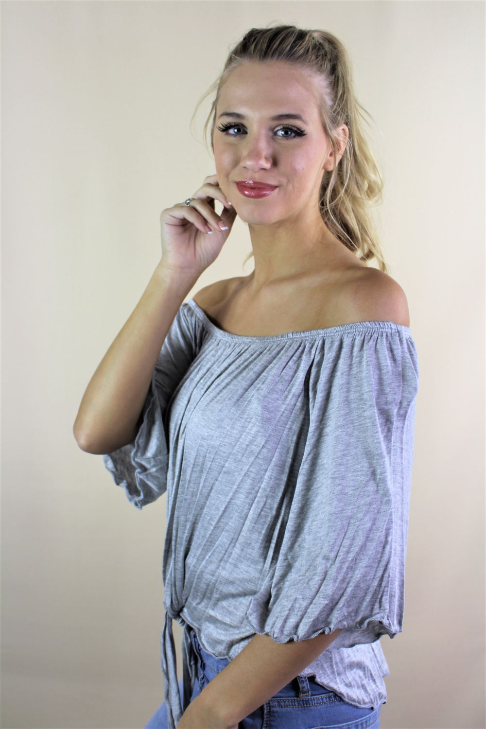 Women's Off Shoulder Solid Top with Front Knot
