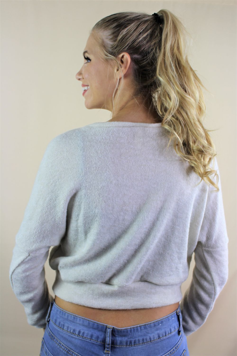 Women's Long Sleeve Solid Crop Top