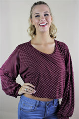 Burgundy American Football Top with Stripes