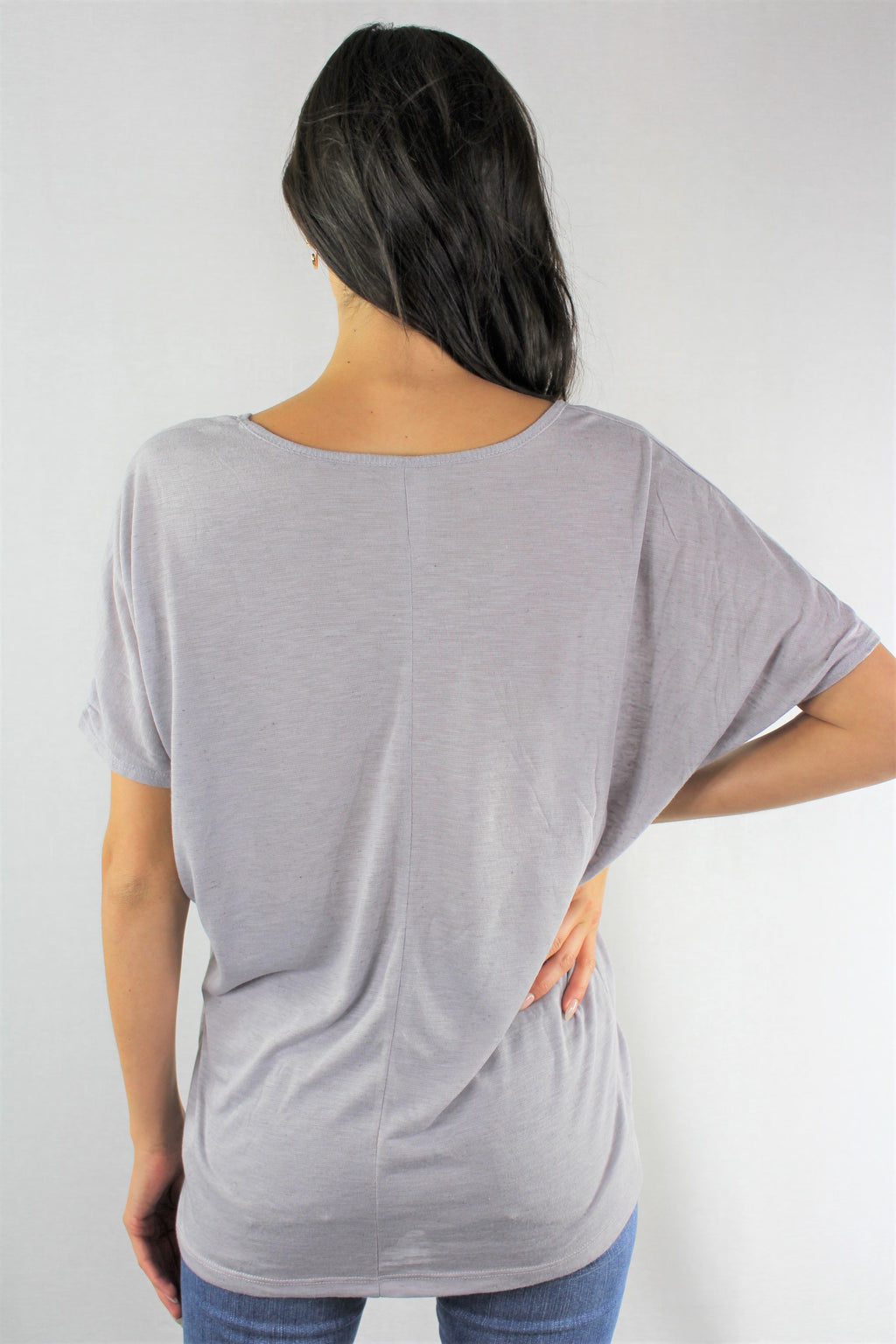 Women's Short Sleeve Relaxed Fit V Neck Top