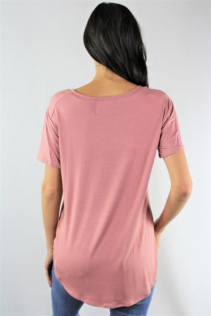 Women's Short Sleeve V Neck Top with Front Pocket