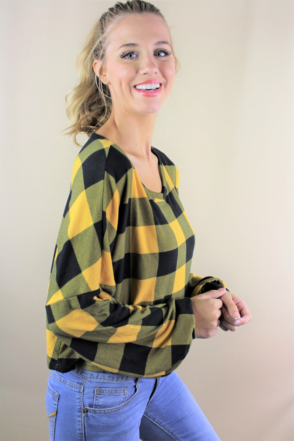 Women's Long Sleeves Cropped Plaid Top
