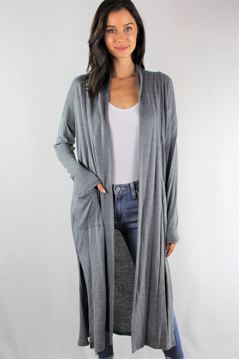 Women Long Sleeve Open Front Maxi Cardigan