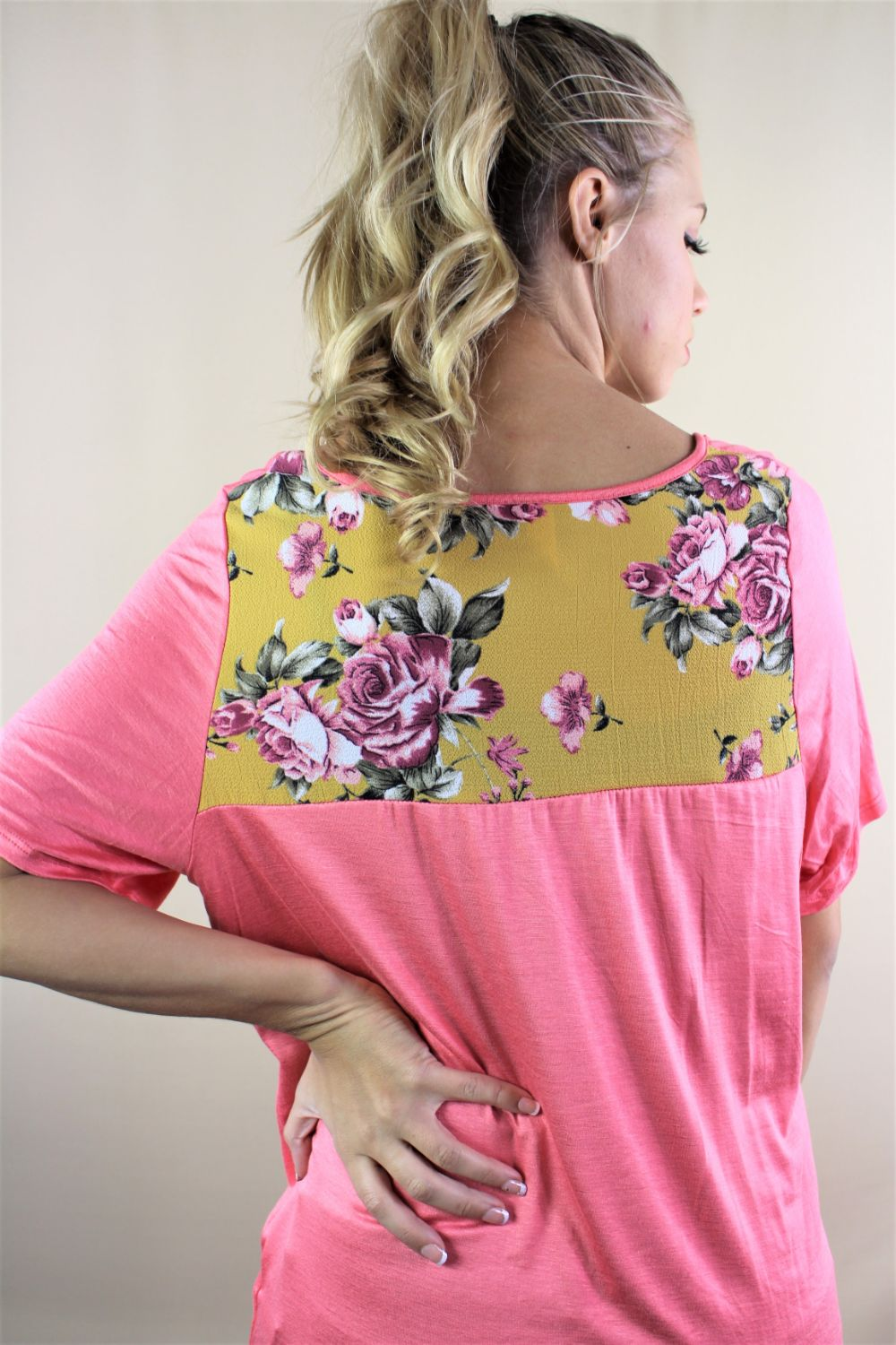 Women's Loose Fit Tee with Floral Back Design