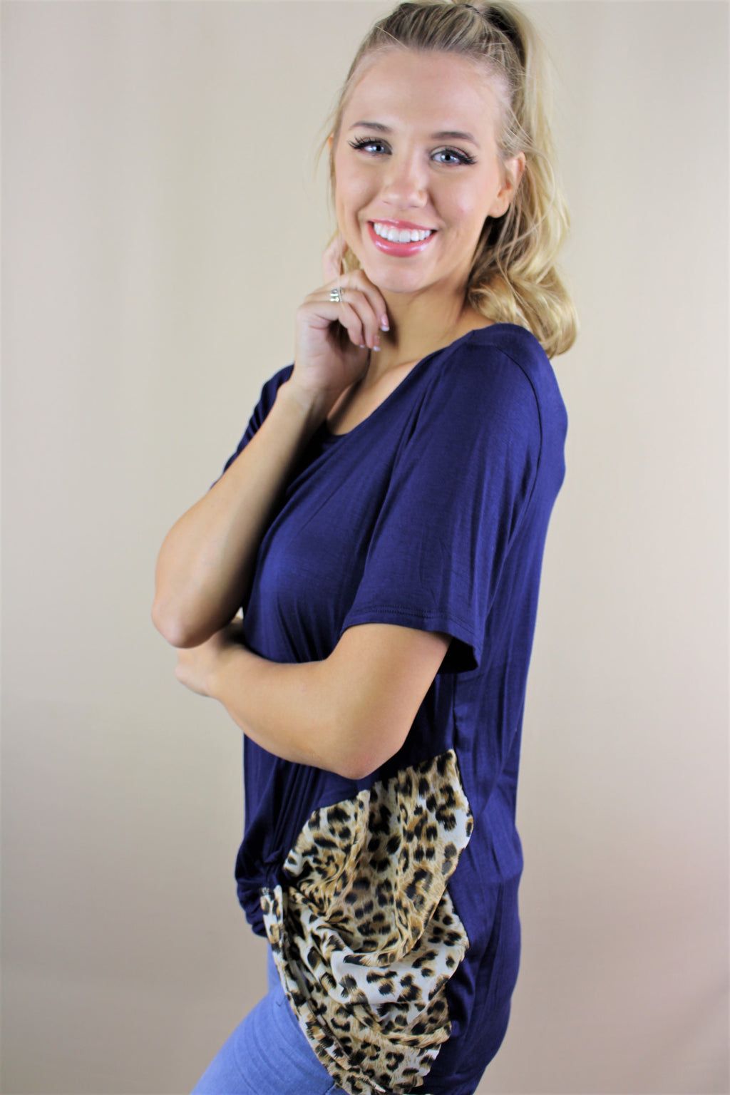 Women's Short Sleeve Top with Animal Print Design