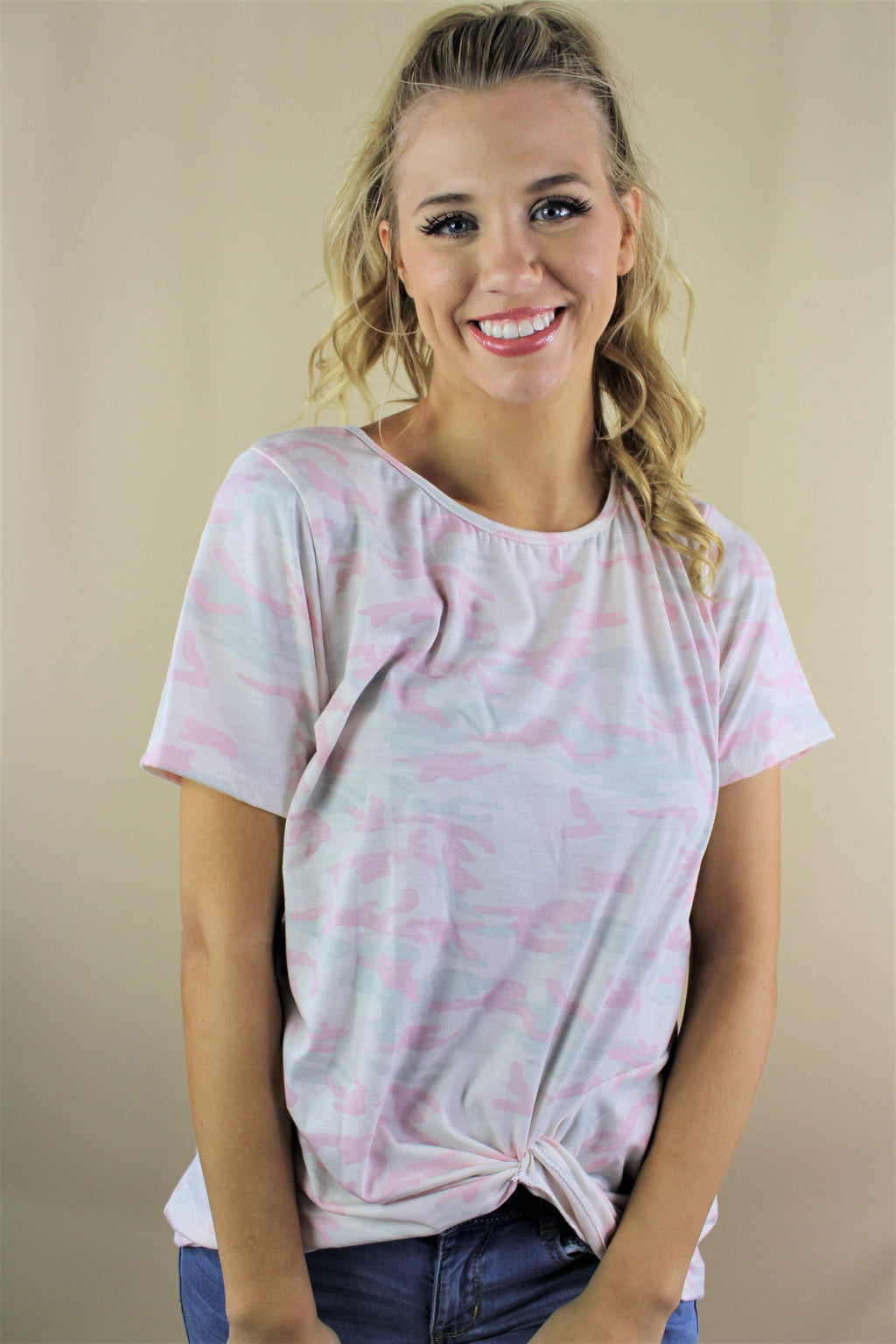 Women's Round Neck Light Camouflage Tee with Front Knot