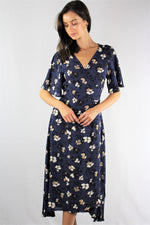Women's Floral V Neck Midi Dress