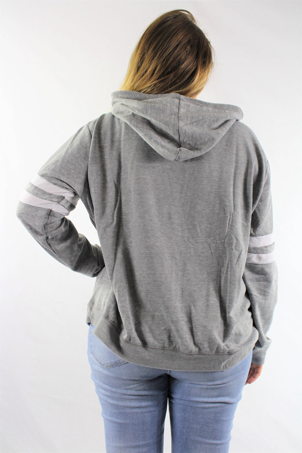 Plus Size Laid-Back Striped Hoodie