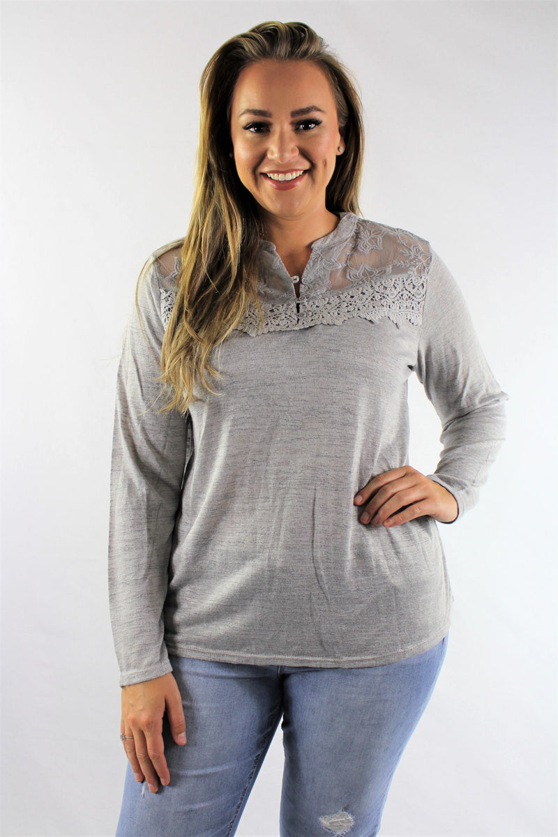 Plus Size Long Sleeve Top with Lace Detail