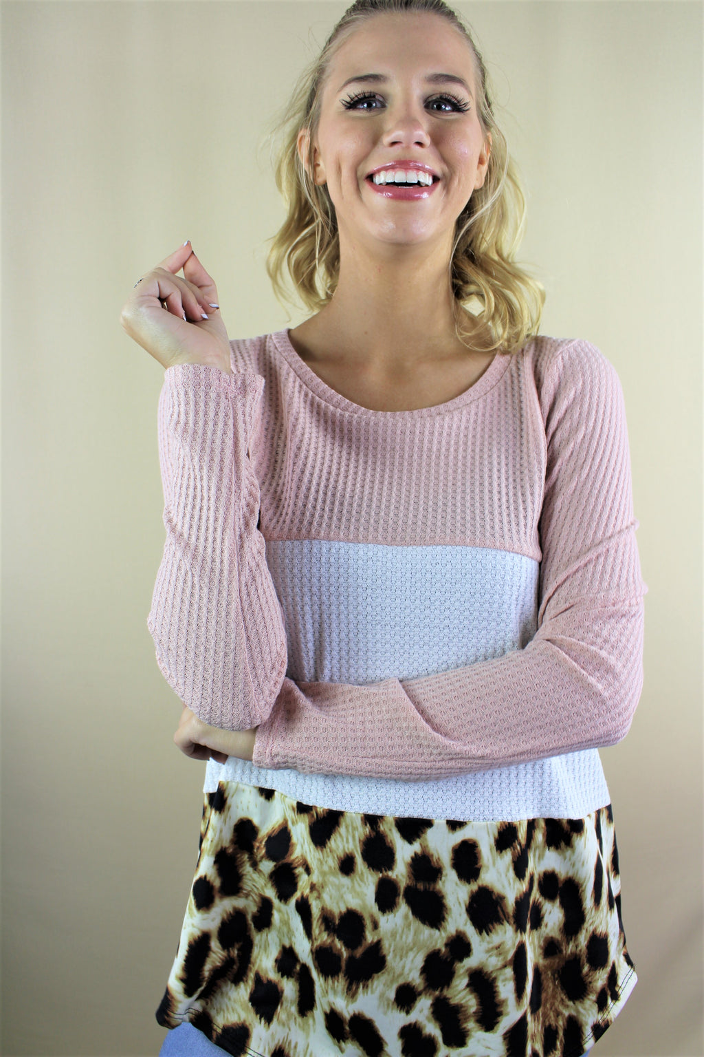 Women's Long Sleeve Color Block Top with Animal Print