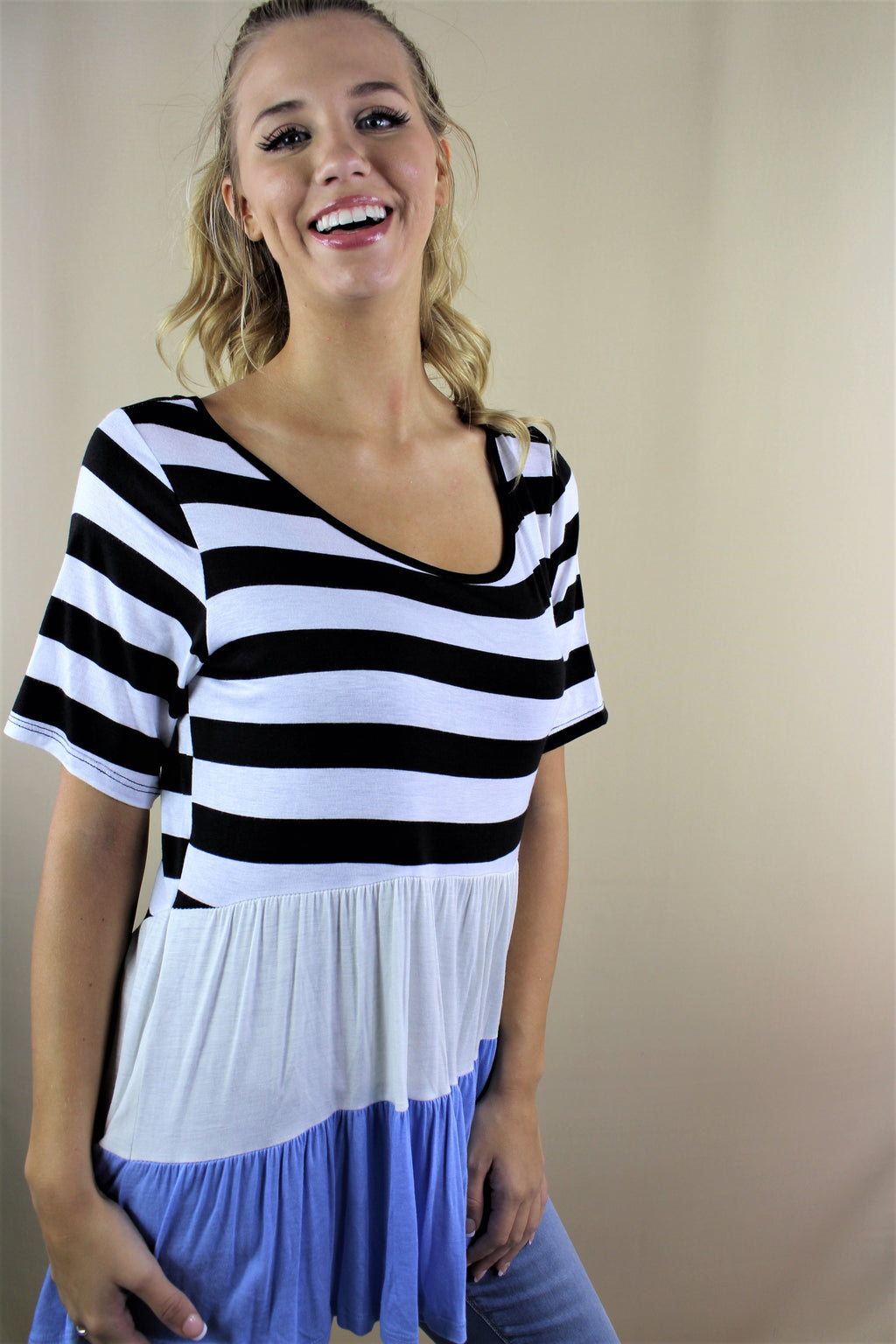 Women's Short Sleeve Stripe Peplum Top