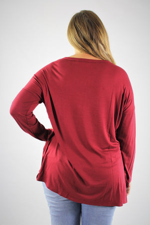 Plus Size Long Sleeve V Neck Top