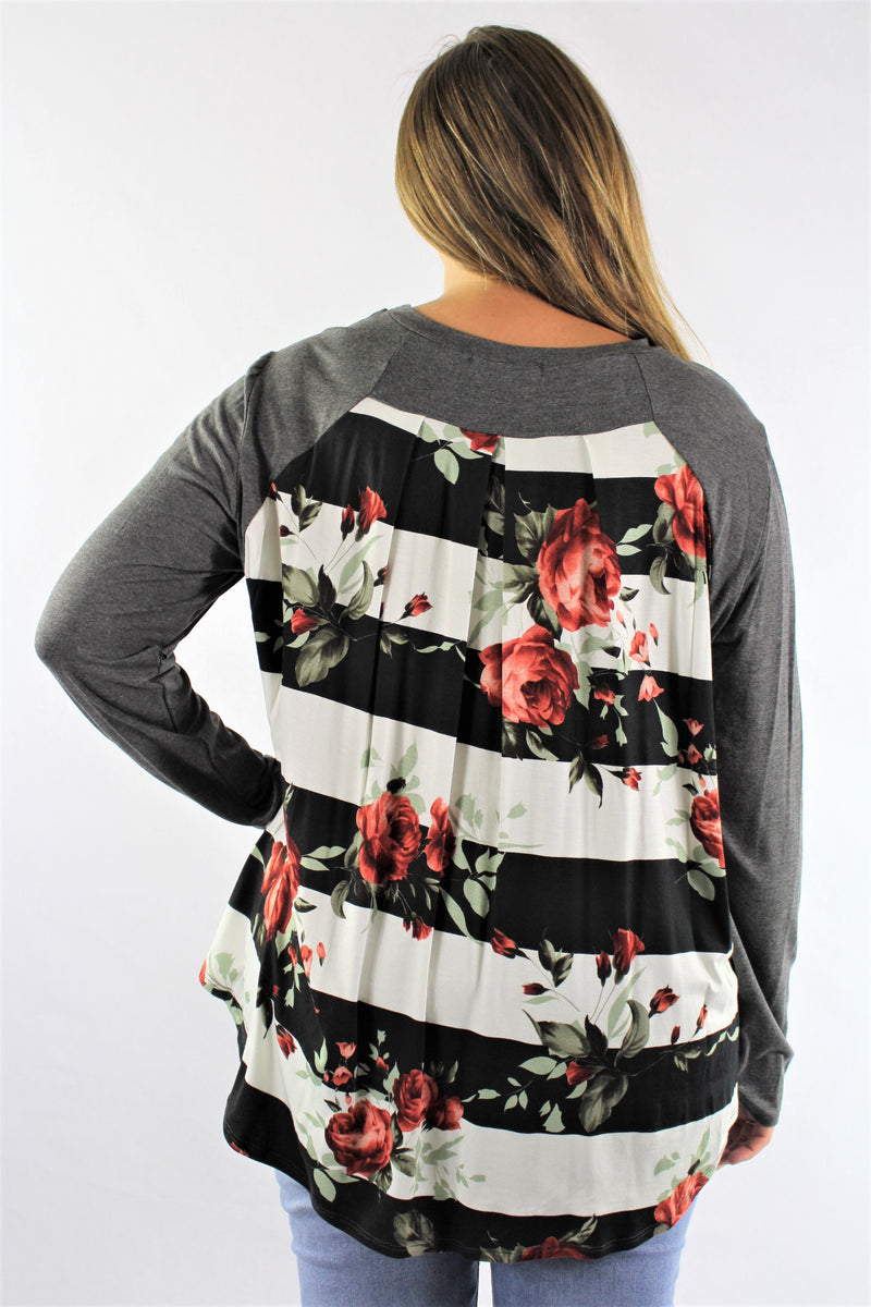 Plus Size Long Sleeve Top with Floral Back