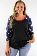 Plus Size 3/4th Star Sleeve Top