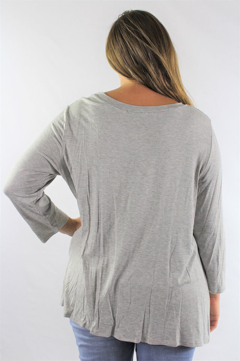 Plus Size Long Sleeve Round Neck Top with Front Twist