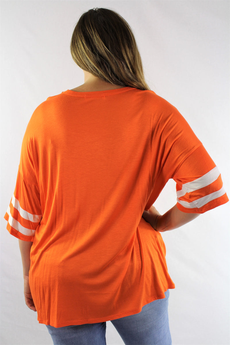 Plus Size Elbow Sleeve V Neck Baseball Top