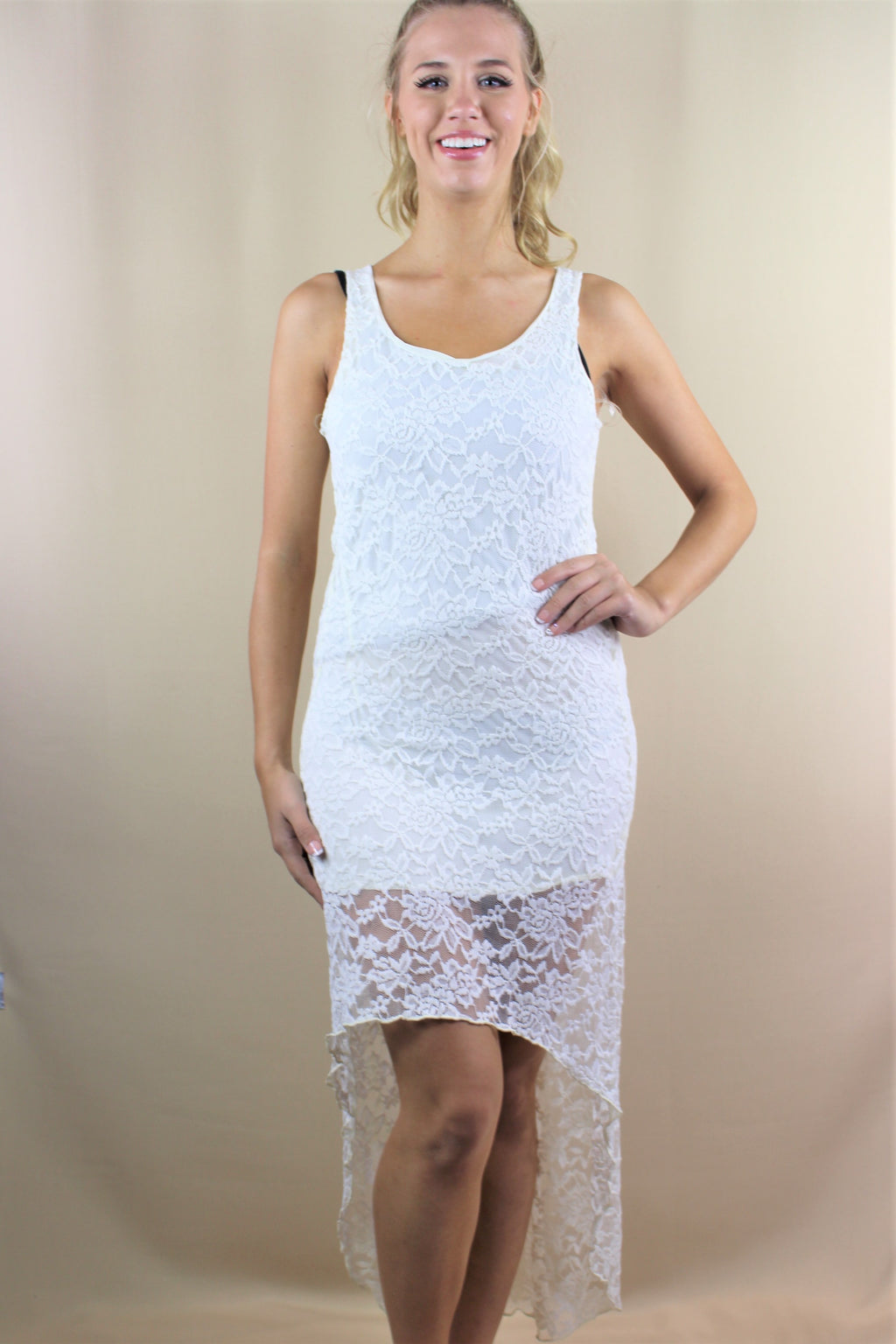 Women's Sleeveless Hi Low Lace Dress