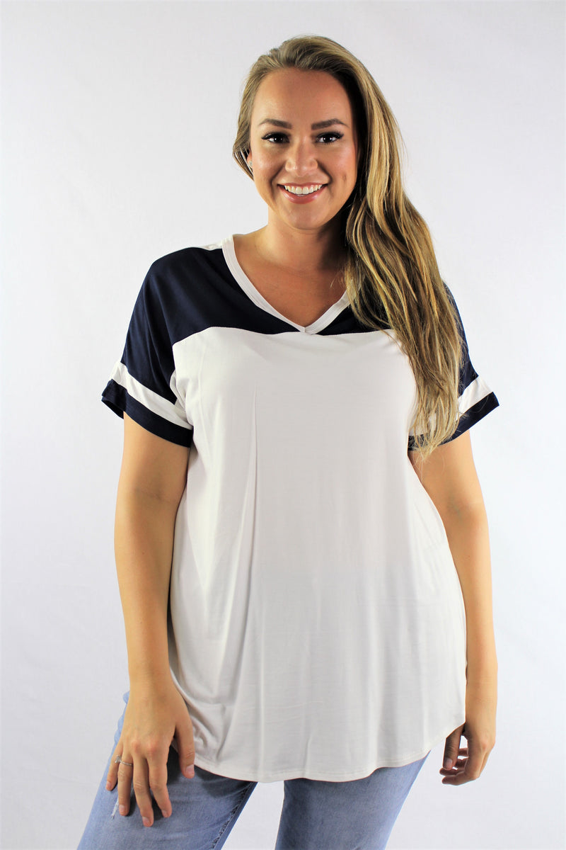 Plus Size V Neck Dual Color Top