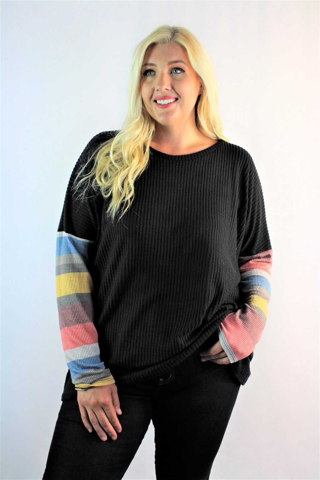 Women's Plus Size Multi Color Printed Sleeve Sweater Top