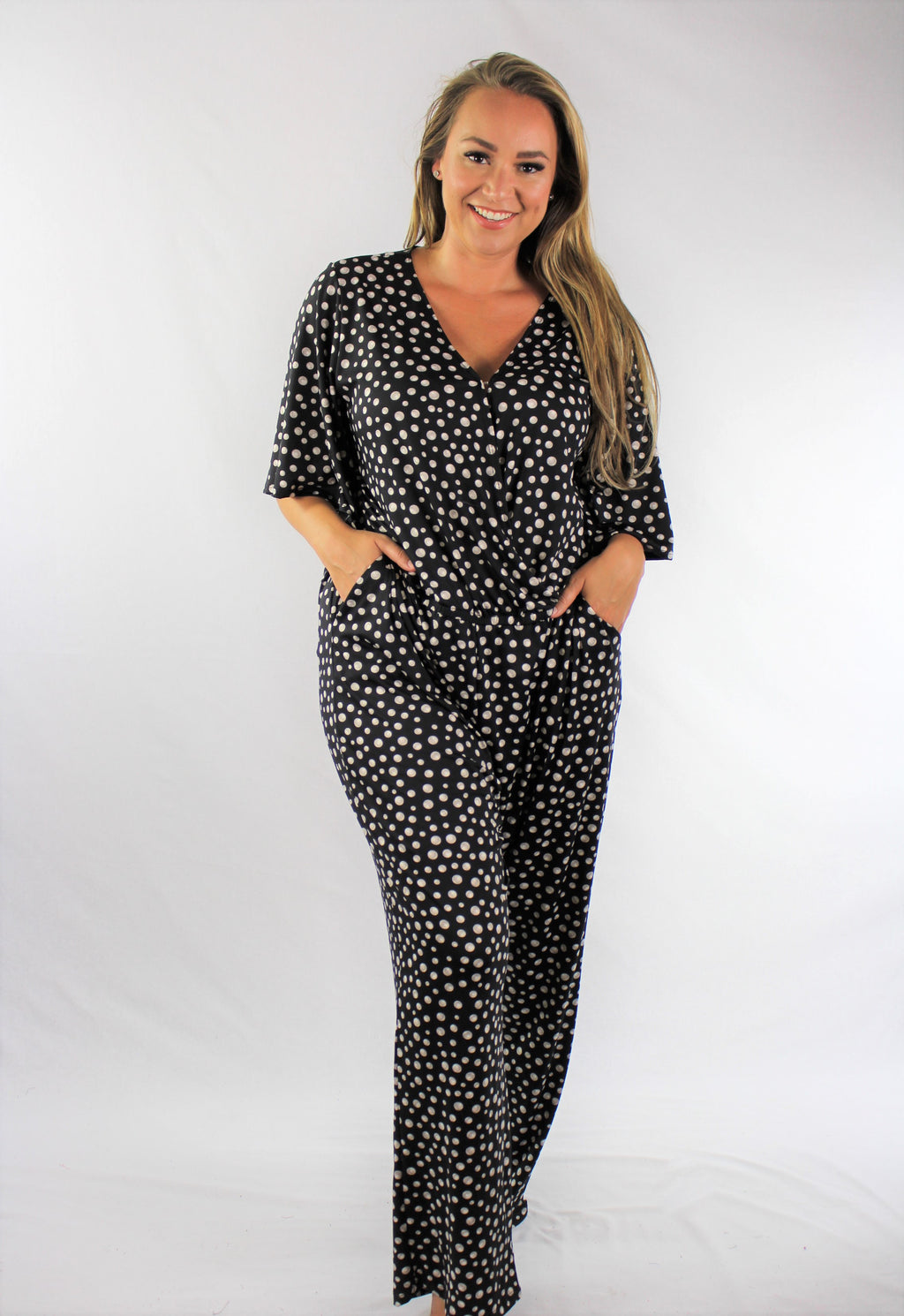 Plus Size Elbow Sleeve Jumpsuit with Pockets
