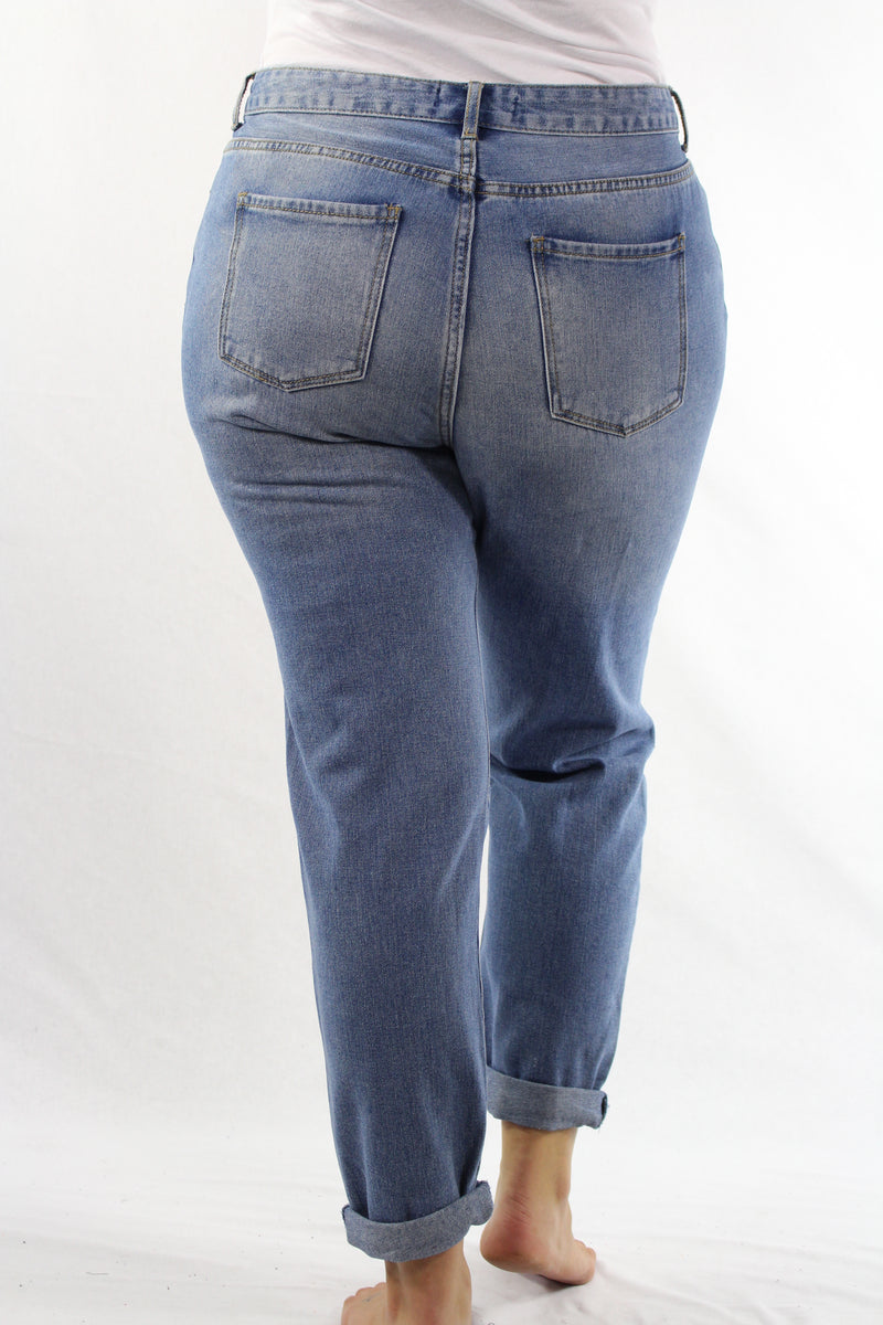 Plus Size Blue Washed Destroyed Jeans