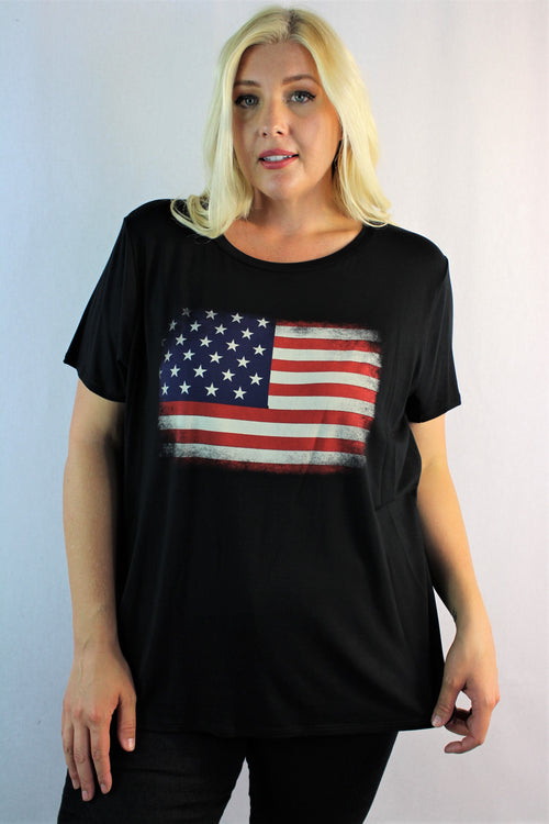 Women's Plus Size Short Sleeve American Flag Top