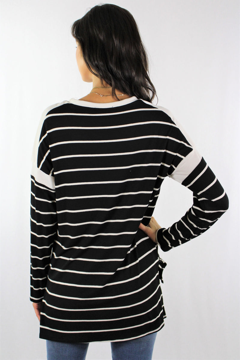 Long Sleeve Striped Hi Low Hem Top