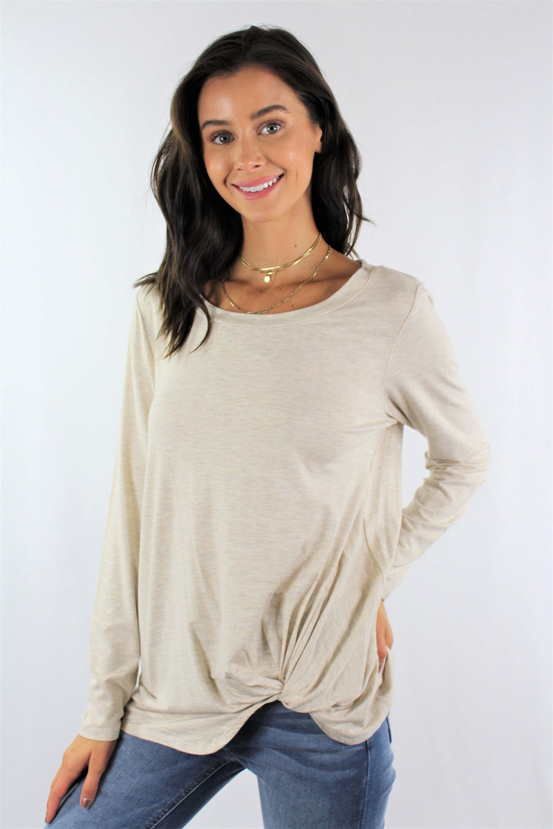 Long Sleeve Loose Fitting Top with Front Twist