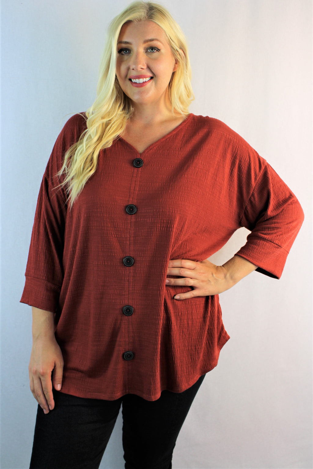 Women's Plus Size 3/4th Sleeve V Neck Top w/ Front Button Detail