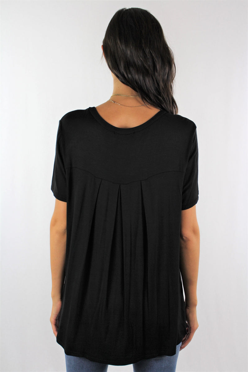 Short Sleeve Round Neck Top with Pleated Back