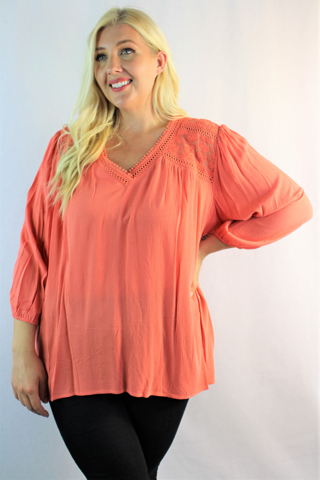 Women's Plus Size 3/4th Sleeve Blouse with Lace Detail
