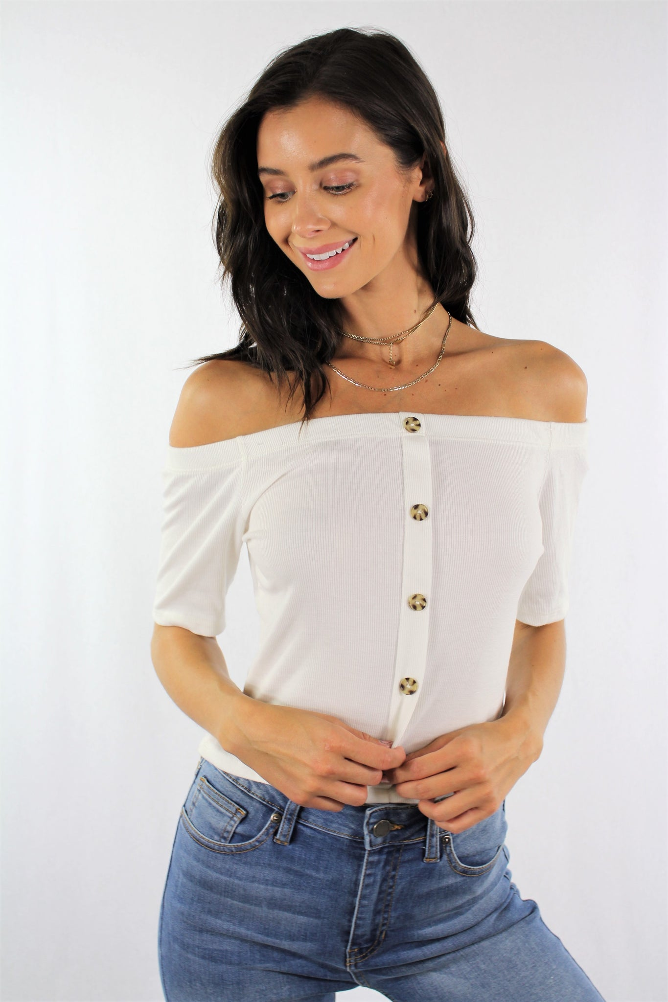 Off Shoulder Top with Button Detail