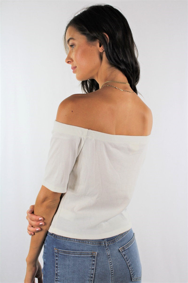 Women's Off Shoulder Top with Button Detail
