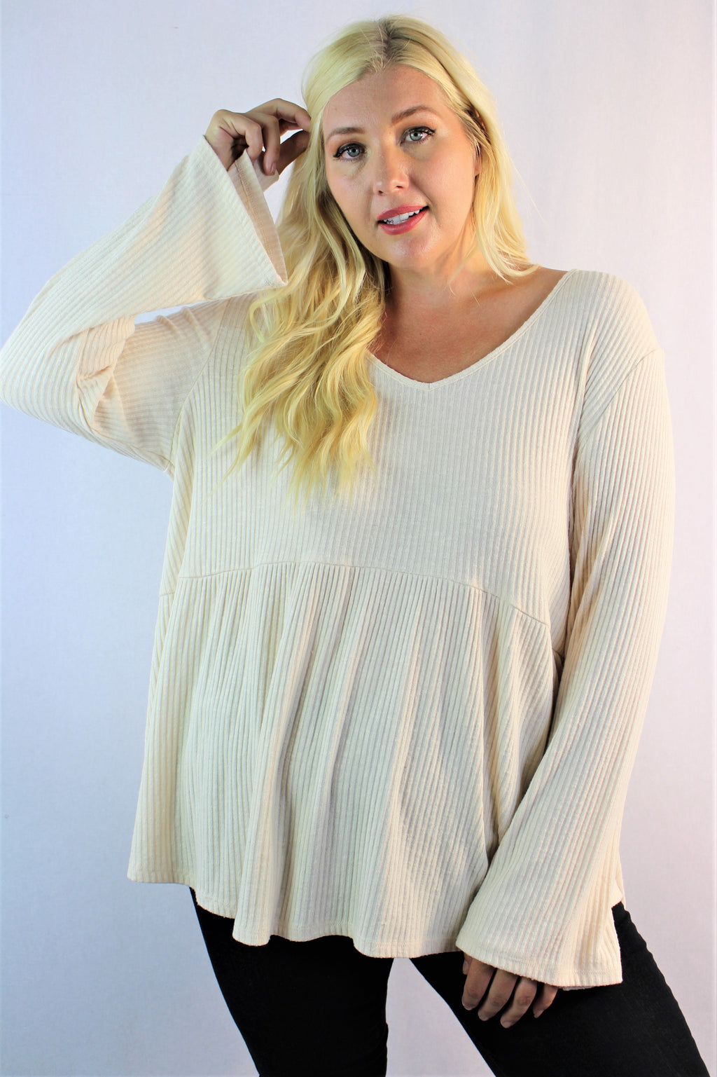 Women's Plus Size Bell Sleeve Loose Fit Top